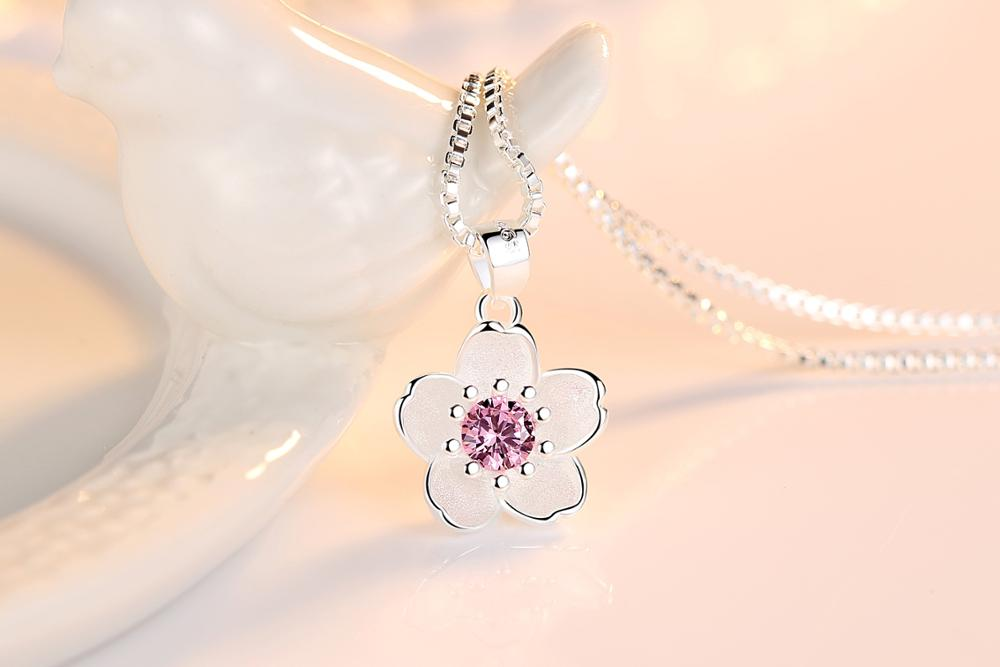 HTB1KepIanHuK1RkSndVq6xVwpXad - Cherry Blossoms Necklace Flower Silver Chain Color Pink Purple Crystal Pendant Necklaces Jewellery Collier Femme