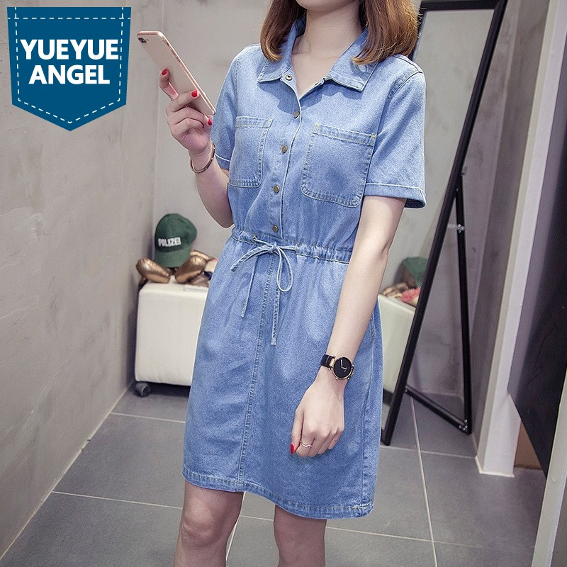 Taille élastique cordon bleu femme Sexy Denim robes à manches courtes revers femmes mode robe 2019 grande taille 5XL vêtements décontractés