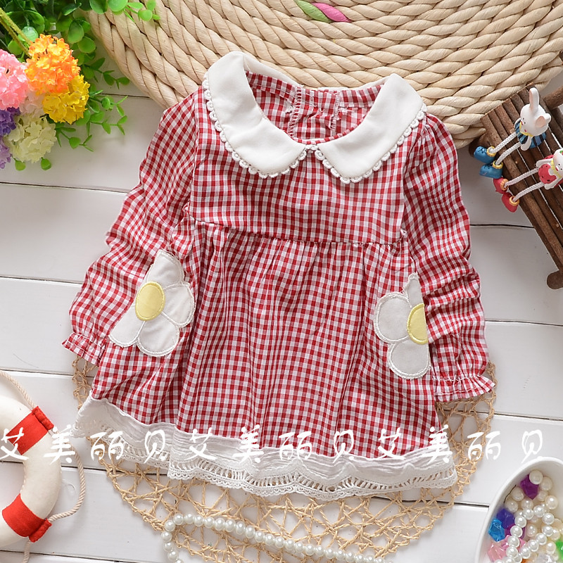 2016 Spring and Autumn baby girls Fine grid two flower hem lace shirt child long sleeve tops tees clothing free shipping