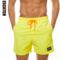 ESCATCH M 3XL Men Beach Board Shorts Quick Drying 2019 Summer Clothing Boardshorts Sandy Solid Beach Shorts 10colors