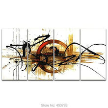 Wall Art the Fifth Planet 4 Panels Modern 100% Hand Painted Abstract Oil Painting On Canvas Home Decoration