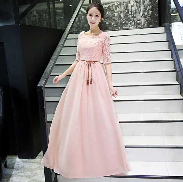 Pastel Light Pink Long Chiffon Bridesmaid Fashion Ladies Elegant