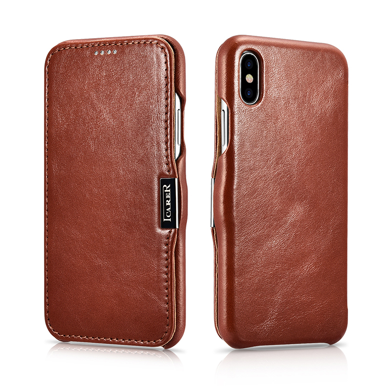 Luxury Genuine Leather Metal Logo Magnetic Flip Case For iPhone X XS XS MAX XR Cover