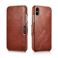 Luxury Genuine Leather Metal Logo Magnetic Flip Case For IPhone X Cover Coque Original Cell Phone