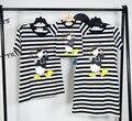 2016 лето персонажа из мультфильма утка печати черный в полоску, футболка с коротким рукавом семья любовь совпадающие пары мода хлопок тис