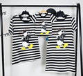 2016 summer cartoon character duck print black striped t shirt short sleeve family love couples matching fashion cotton tees