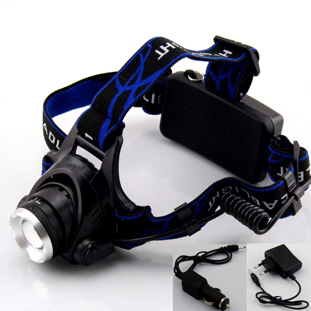 Waterproof 2000 Lumens CREE XM-L T6 LED Headlamp  XML T6 Headlight Flashlight Head Lamp Torch Lantern + charger + Car Charger