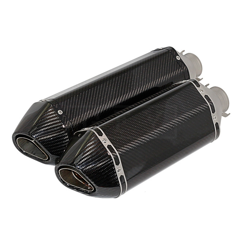 Universal 51MM Motorcycle Carbon Silencer Exhaust Pipe Muffler With Sticker For ATV Z750 CB400 R6 MT07 Escape Slip-on