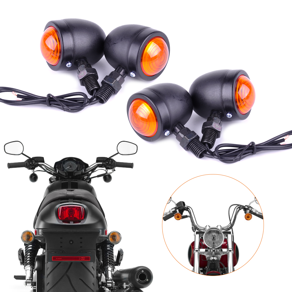 Front Rear LED Motorcycle Indicator Turn Signal Lights Amber Universal Fits