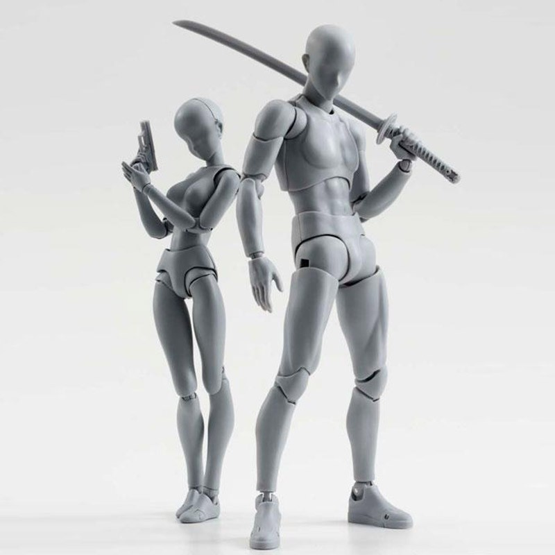 Anime Brinquedos BANDAI Tamashii Nations PVC Body Action Figure Collectible Model Doll Figma Female Male Body Chan Figures (10)