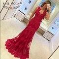 Sexy Profundo Querida Mangas Laço Vermelho Da Sereia Vestido de Noite com Laço Illusion Voltar Formal vestido de Festa Vestido de Dama de Honra vestido