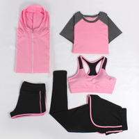 Yoga Set Women Tracksuits Bra+Pants+Shirt+Short+Jacket 5 Pieces Gym Sports Clothing Running Exercise Breathable Fitness 4 Colors