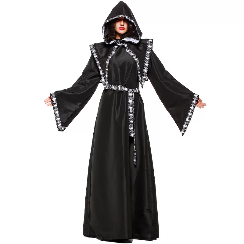 Adult Women Halloween Gothic Grim Reaper Death Monk Witch Costume ...