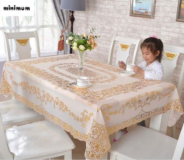 Exceptional PVC Bronzing Tablecloth Waterproof European Tablecloth Rectangular Non Slip  Mattresses Table Cover Free Shipping
