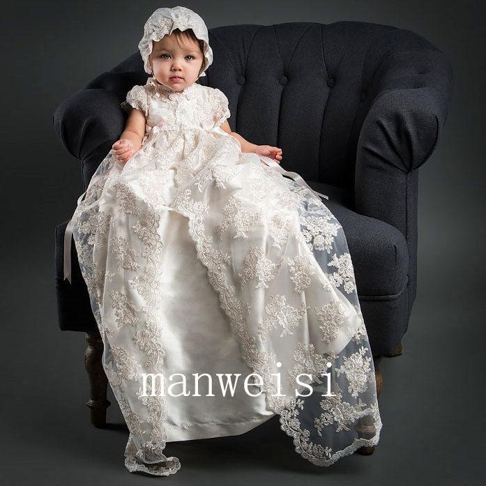 New Lace Christening Girl Dresses Infant Baby Baptism Vintage Gowns Whit Bonnet
