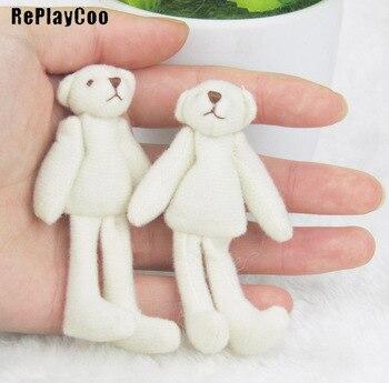 100PCS/Lot Mini Joint Long-Legged Bear Stuffed Plush Toys 7 cm Cute White Teddy  Dolls Gifts Wedding Party Decoration J00602