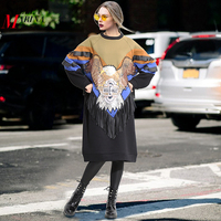 New 2018 Women Winter Plus Size Dress Hit Color Patchwork Style Eagle Embroidery Female Midi Straight Party Dress Club Wear 3123