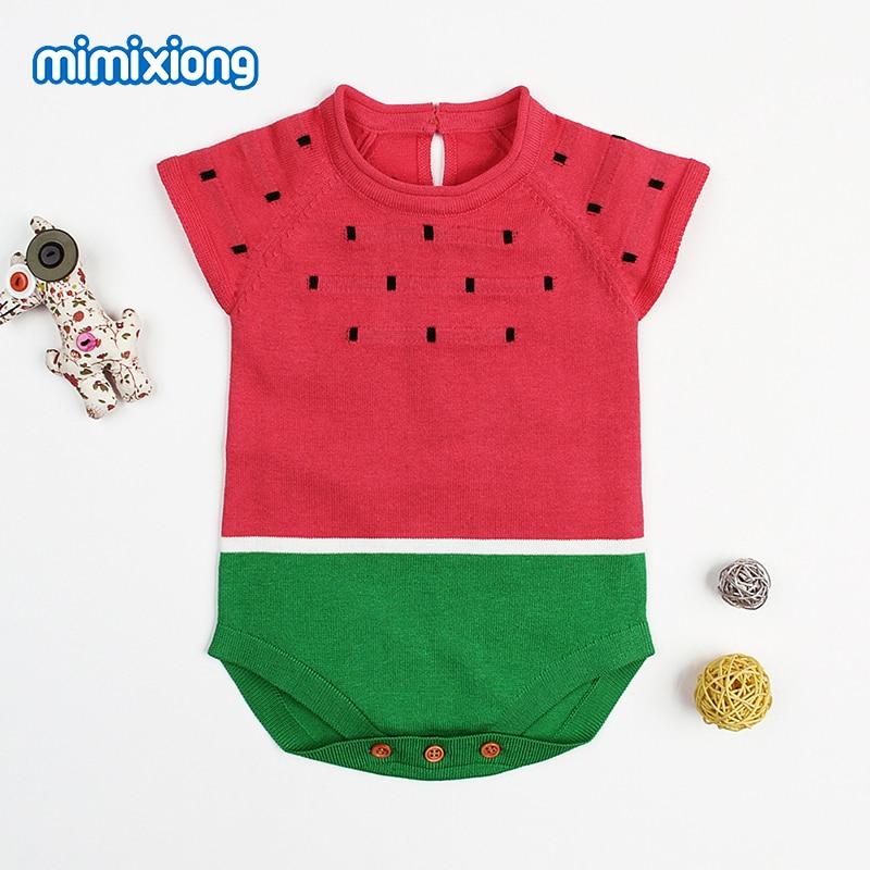 Körper Für Neugeborene Wassermelone Gestrickte Babys Mädchen Strampler Sommer Kurzen Ärmeln Kleinkind Jungen Overalls Häkeln Infant Kid Kostüm