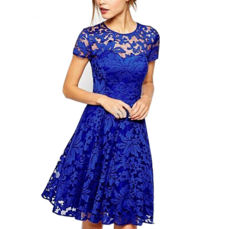 5XL Plus Size Fashion Women Elegant Sweet Hallow Out Lace Dress Sexy Party Princess Slim Summer Dresses Vestidos Red Blue