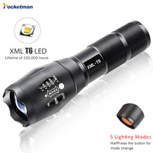 E17 XM-L T6 5000LM Aluminum Waterproof Zoomable LED Flashlight Torch Light For 18650 Rechargeable Battery Or AAA(China)