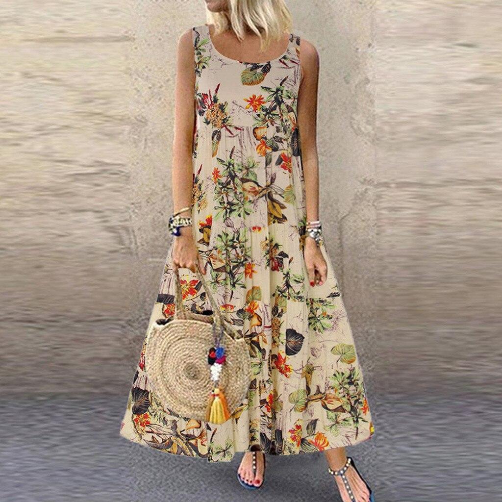 Women Plus Size Boho Dress O Neck Floral Print Vintage Sleeveless Long Maxi dresses woman party night beach dresses S 5XL NEW|Dresses| - AliExpress