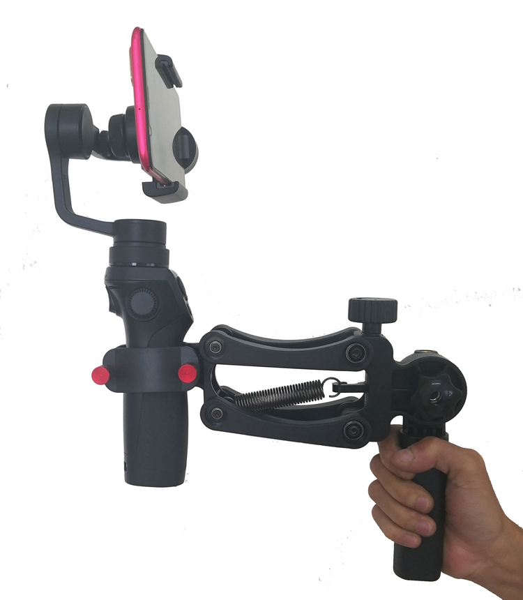 BOB-M Z axis Spring dual handle grip gimbal hold Arm for ZHIYUN smooth4 DJI osmo2 MOZA mini-mi OSMO stabilizer gimbal handheld alloyseed dual handle grip gimbal hold arm for dji osmo osmo mobile mobile 2 ronin s