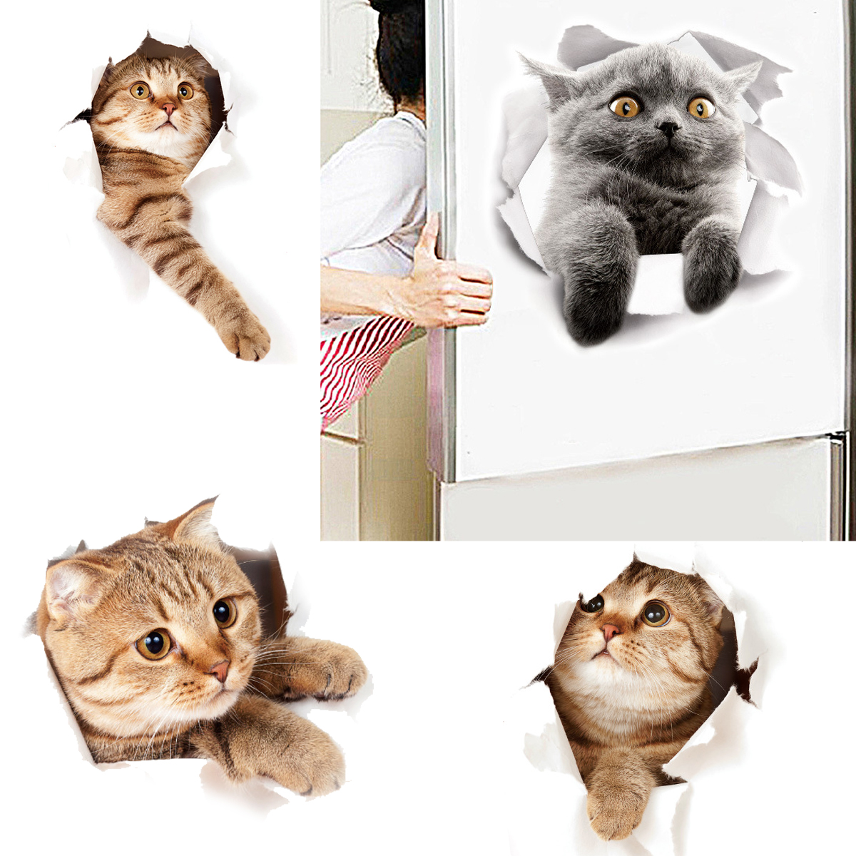 Cartoon Animal 3d Toilet Stickers on The Toilet Seat Cute Cats PVC Wall Sticker Bathroom Refrigerator Door Decor Stickers Decals(China)
