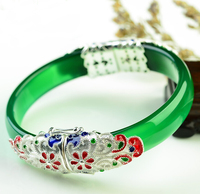 Чистый стерлингового серебра 925 китайский 100% натуральный/жадеитовый браслет с сертификатом 60 мм