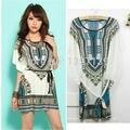 New Summer Retro Vintage bohemian Casual Dresses Women Plus Size Ice Silk Dress