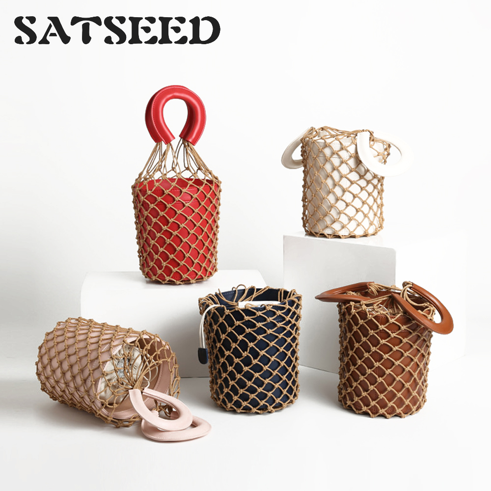 Autumn 2019 Women Genuine Leather Bucket Fashion Solid Bag for Famale Custom Net Bag Ins Woven