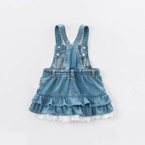 Image 2 - Dave bella bahar bebek bebek kızın kot elbise moda kemerli elbise doğum günü jartiyer elbise yürüyor çocuk giysileri