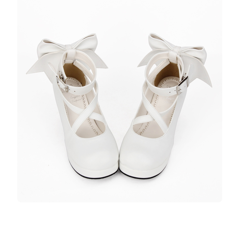 Angelic imprint Sweet Lolita style Women Shoes New Fashion Round Toe Bowknot High Heel Shoes Size 35-39 8280 sweet round neck sleeveless bowknot design women s tank top
