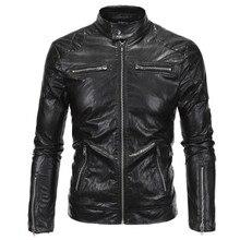 Модные панк стильная куртка Zip Slim Fit Искусственная кожа байкерская куртка мужской Зимние черные сапоги мотоциклетная кожаная куртка Для мужчин