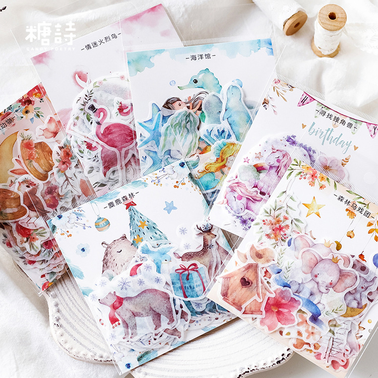 40pcs/pack Mohamm Poetry Color Forest Stationery Journal Diary Paper Calendar Cute Stickers Scrapbooking Flakes School Supplies40pcs/pack Mohamm Poetry Color Forest Stationery Journal Diary Paper Calendar Cute Stickers Scrapbooking Flakes School Supplies