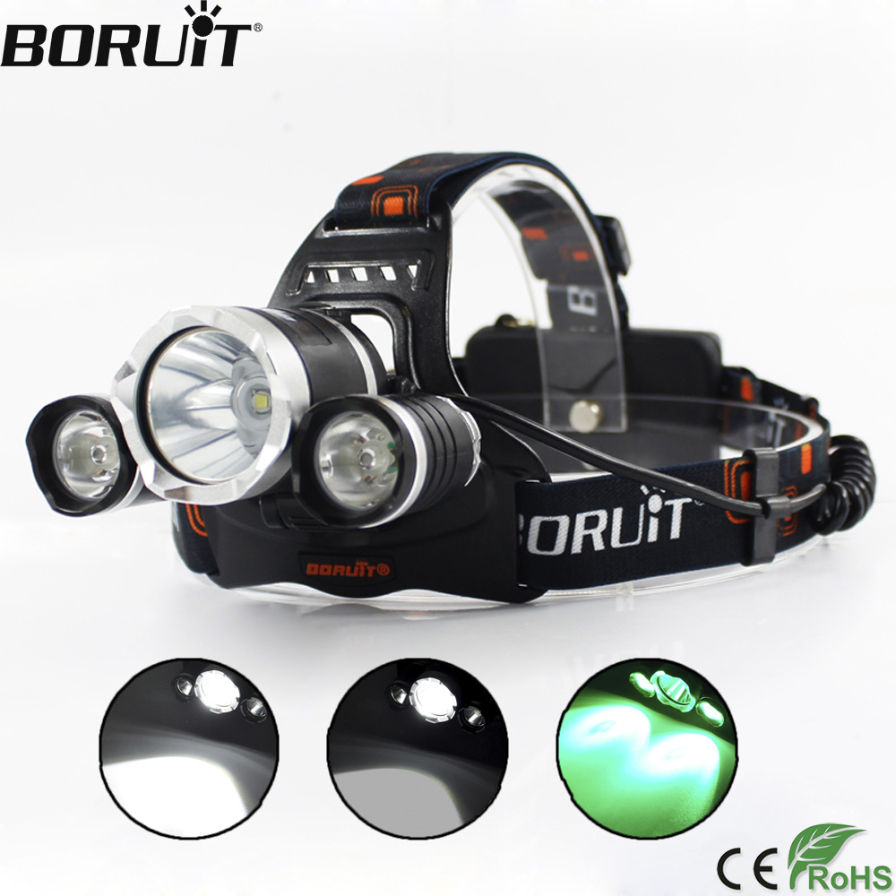 BORUiT 3000LM Green Light Headlamp 3-Mode Headlight XML T6 XPE LED Head Torch Hunting Camping Flashlight by 18650 Battery boruit 10000lm xml t6 chips led headlamp rechargeable zoom headlight hunting camping head light flashlight by 18650 battery