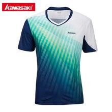 Спортивная одежда Kawasaki полиэстер спорт, Бадминтон Мужская рубашка с v-образным вырезом дышащий пот быстросохнущие футболки для мужчин ST-T1012