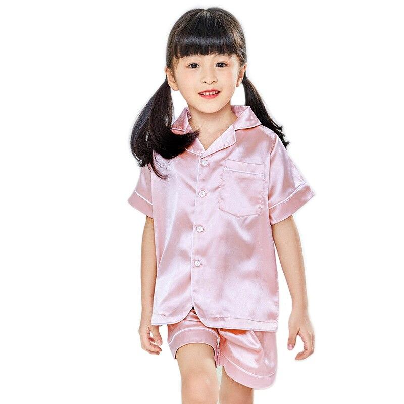 Children Silk Pajamas Summer Pajamas For Girls Kids Pyjamas Softy Boys Sleepwear Baby Clothing Kids Pajama Set 3
