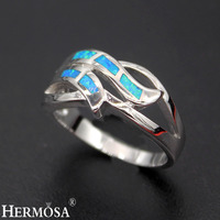 Hermosa Jewelry Fashion natural blue Opal 925 Sterling Silver Beauty lovely Ring Size 7#8# R1001