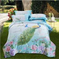 Boho Style Tencel Bedding Set Luxury 4pcs Peacock Flowers Bed Set Silk Duvet Cover Sets Bed Linen Pillowcases Queen King Size
