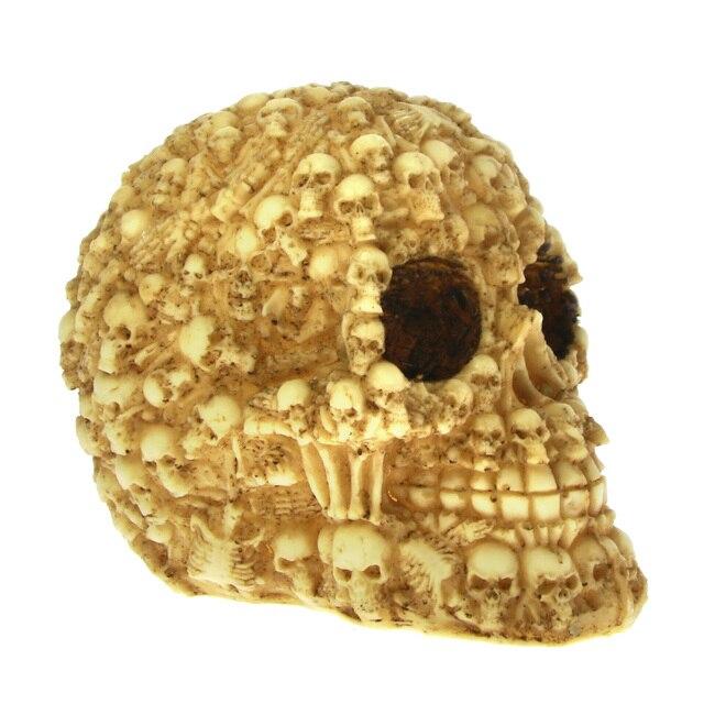 1Piece Homosapiens Skull Statue Figurine Human Shaped Skeleton Head Medical  Demon Ghost Evil Multiple Samhain Mexican