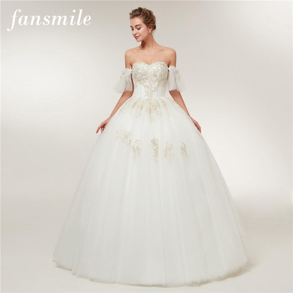 Fansmile Detachable Sleeve Vestido De Noiva Simple Wedding