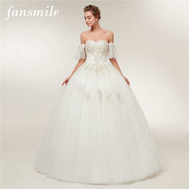 Fansmile Detachable Sleeve Vestido De Noiva Simple Wedding Dress ...