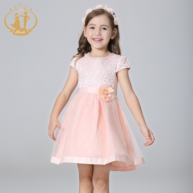 Nimble Girl Dress  Jacquard Ball Gown Handmade Flowers  Pearls Beaded Girls Clothes kids princess dress