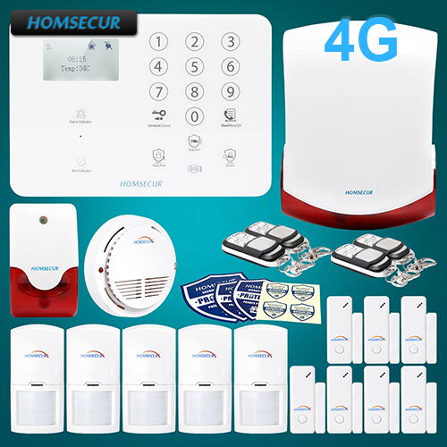 HOMSECUR Wireless&wired 4G/GSM LCD Home Security Alarm System+Red Flash Siren GA01-4G-W 2 4g wired