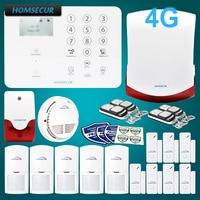 Homsecur беспроводный и проводной 4 г/gsm, ЖК дисплей дома охранной сигнализации системы + Красный флэш сирена GA01 4G W