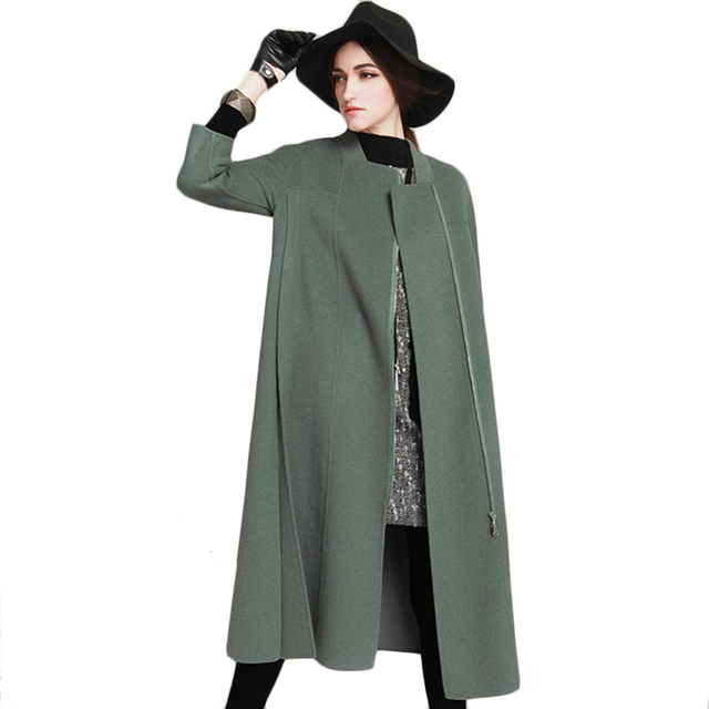 Women's Winter Jacket 2017 Spring New Arrival Women Long Wool Coat Wide-Waisted Female Parka Solid Ladies Cashmere Coats F1886