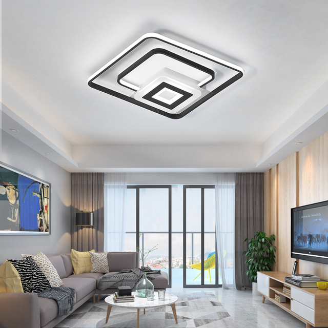 Square Modern led ceiling lights for bedroom living kitchen study decoration creative lighting ceiling lamp fixture dimmable