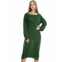 Udlfdz秋女性優雅な緑かぎ針編み中空ニットドレス現代ミニマリストの長い袖緩いウール半ばふくらはぎドレ