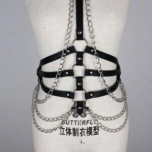 Image 4 - UYEE مثير Harajuku أحزمة النساء الهذيان سلسلة معدنية بولي Harness الجلود تسخير BDSM الوثن عبودية حزام السيدات الرباط عبودية LB 091