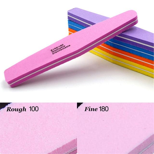 20pcs Nail Buffer 100/180 Double-side Nail Polish Buffer Sanding Block Buffers For Nails Art Tools Buffing Sponge File 5 Colors 2